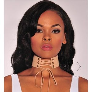 Nude Faux Suede Lace Up Choker